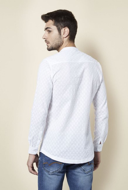 Lawman White Textured Casual Shirt