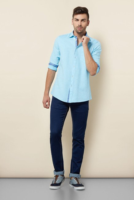 Lawman Aqua Blue Solid Casual Shirt