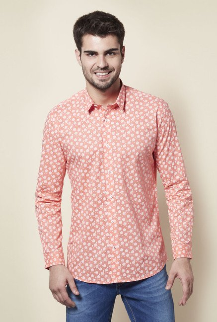 Lawman Peach Floral Print Casual Shirt