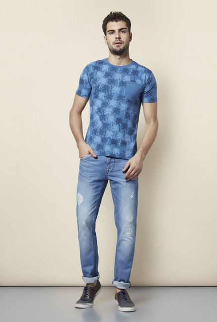 Lawman Blue Printed Cotton T shirt