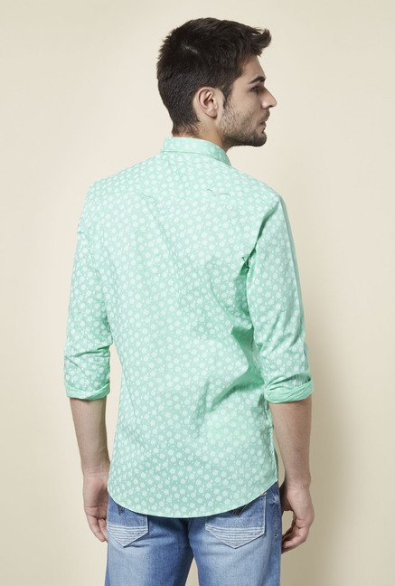 Lawman Sea Green Floral Print Shirt