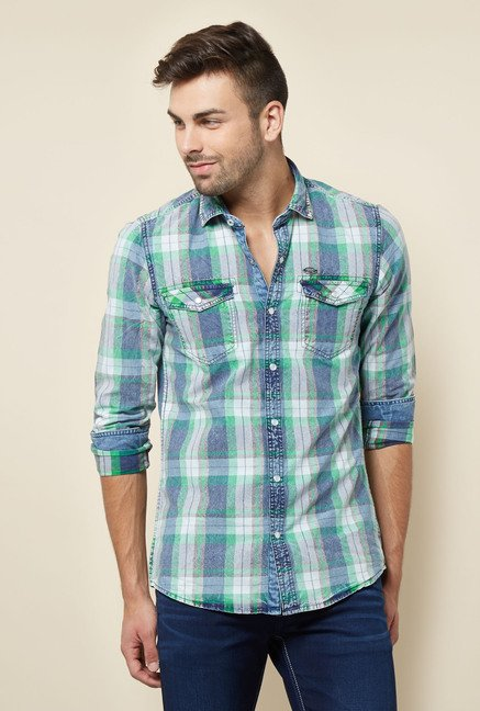Lawman Green & Blue Checks Casual Shirt