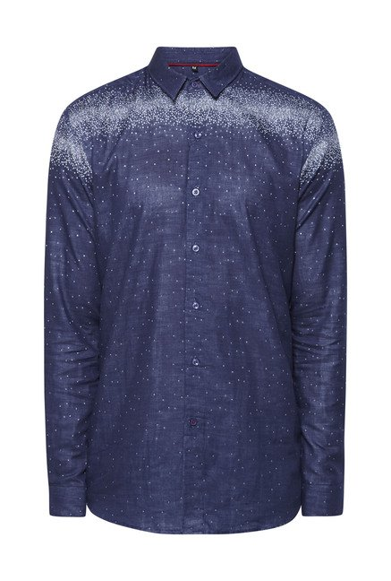 Lawman Navy Printed Casual Shirt