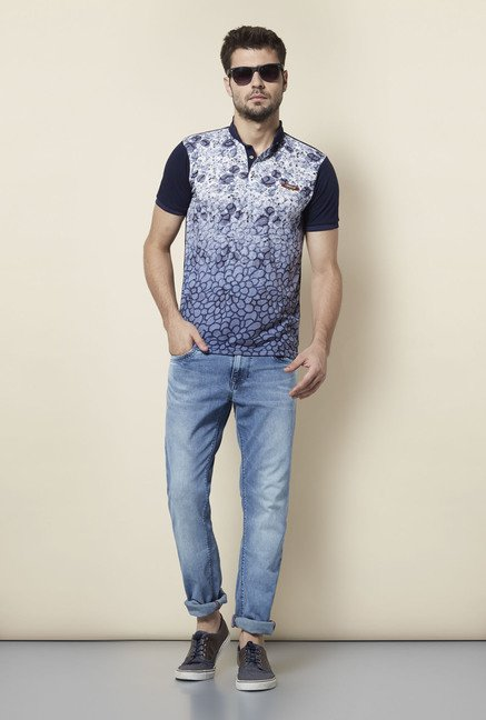 Lawman Navy Printed T shirt