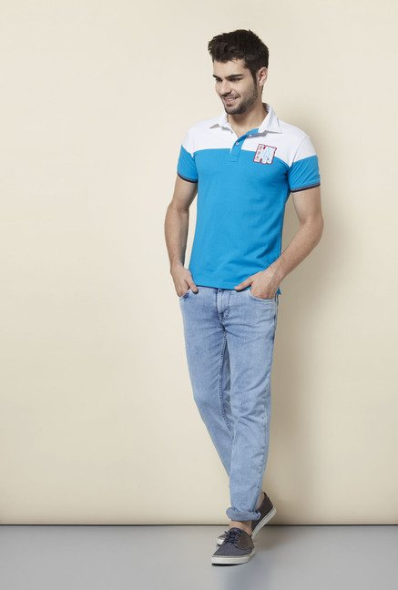 Lawman Blue & White Solid Slim Fit T shirt