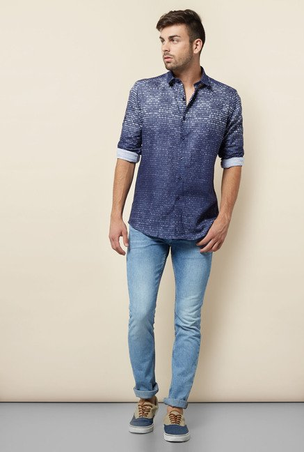Lawman Navy Cotton Casual Shirt