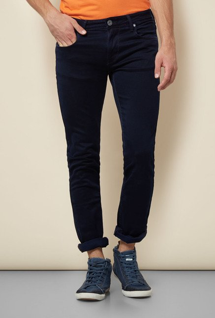 Lawman Navy Solid Slim Fit Jeans