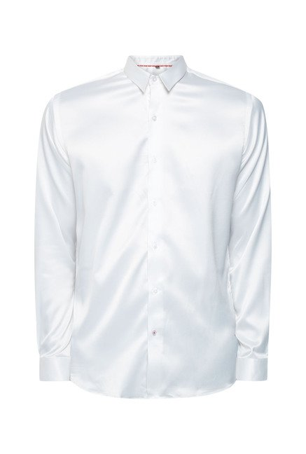Lawman White Solid Casual Shirt