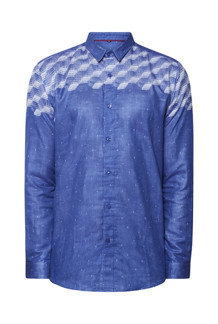 Lawman Navy Printed Slim Fit Shirt