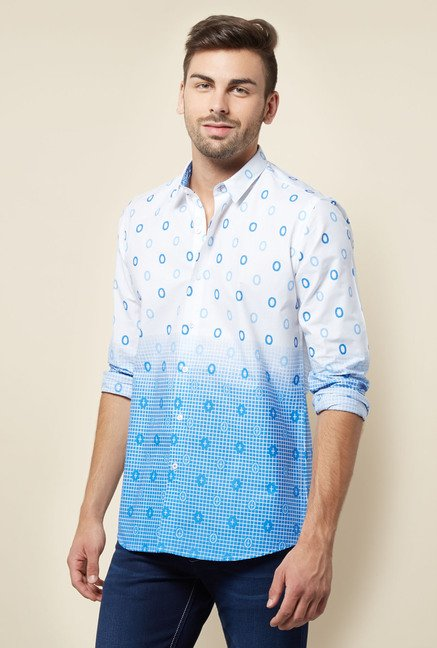 Lawman White & Blue Printed Casual Shirt