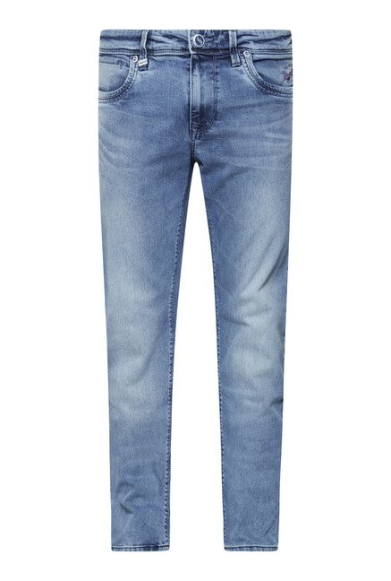 Lawman Blue Solid Slim Fit Jeans