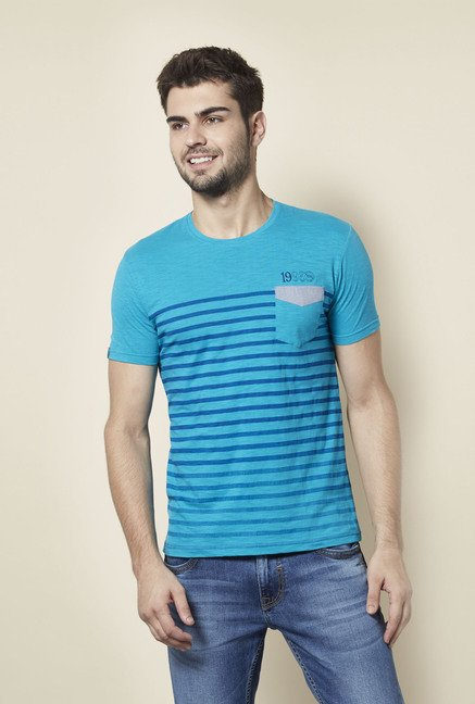 Lawman Teal Striped T shirt