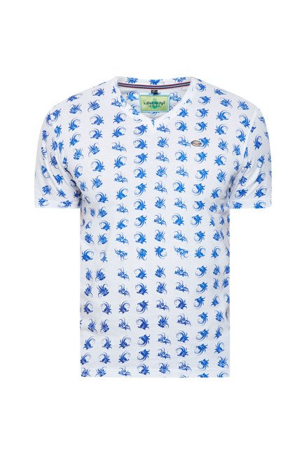 Lawman White Floral Print T shirt