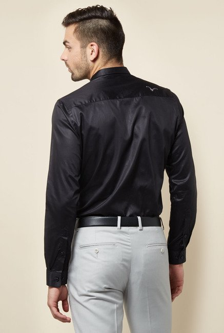 Lawman Black Slim Fit Casual Shirt