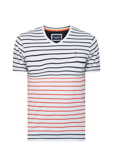Lawman White & Orange Striped T shirt