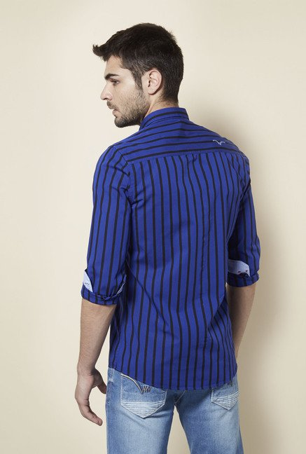 Lawman Navy Striped Casual Shirt