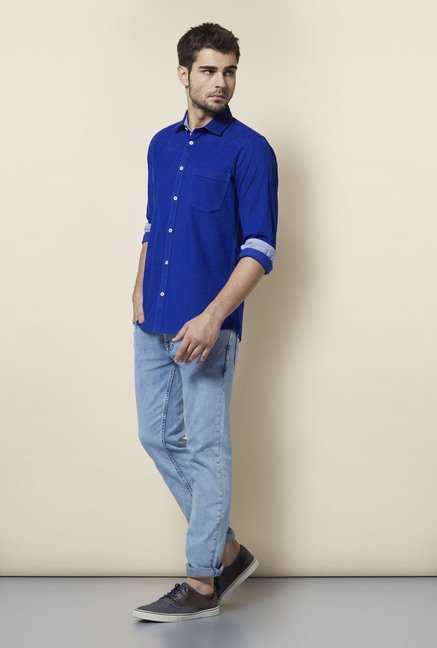 Lawman Navy Solid Casual Shirt