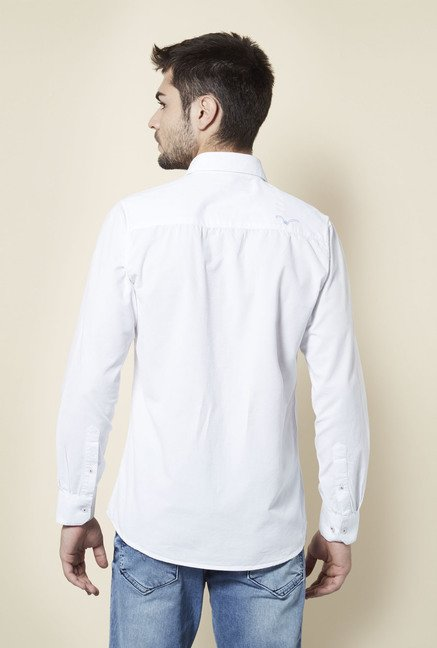 Lawman White Solid Cotton Shirt