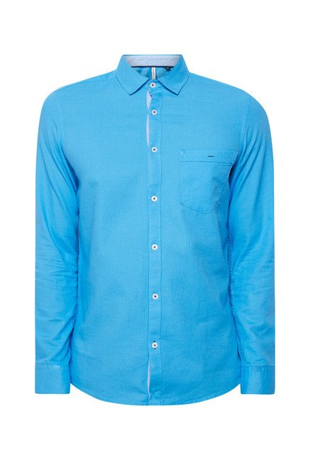 Lawman Blue Solid Cotton Shirt