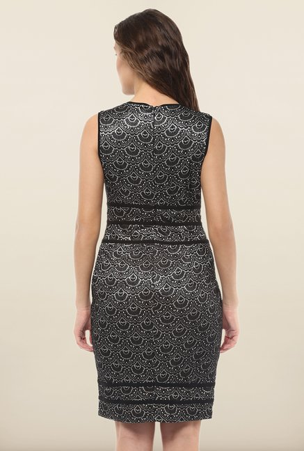 Avirate Black Printed Bodycon Dress