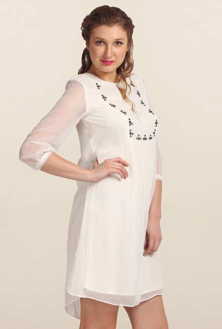Avirate White Embellished Shift Dress