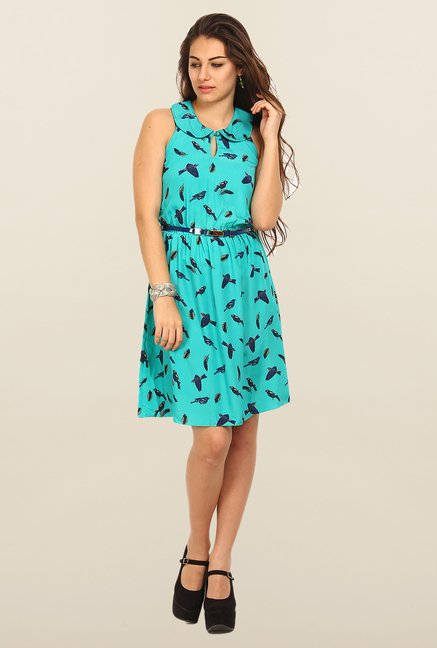 Avirate Turquoise Printed A-Line Dress