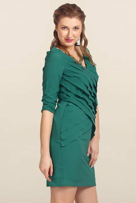 Avirate Green Solid Bodycon Dress