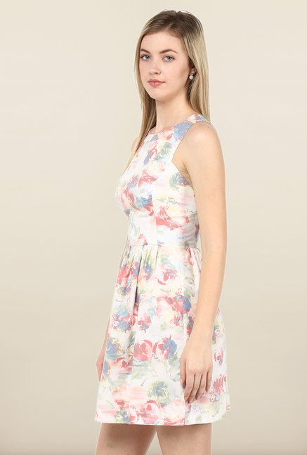 Avirate Cream Floral Print Skater Dress
