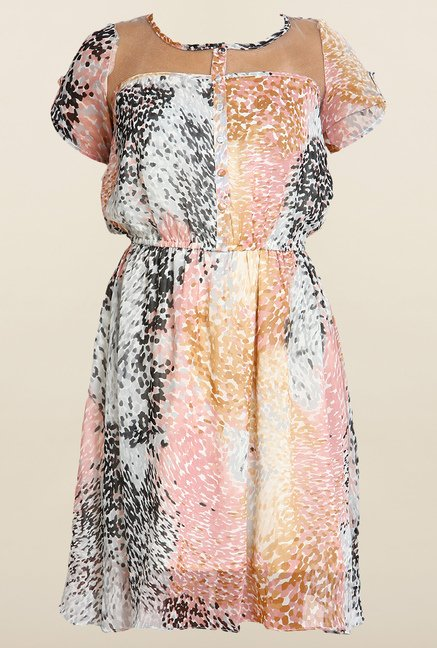 Avirate Multicolor Printed Princess Panel Dress