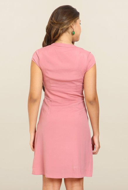 Avirate Pink Solid Empire-Line Dress