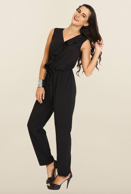 Avirate Black Solid V neck Jumpsuit