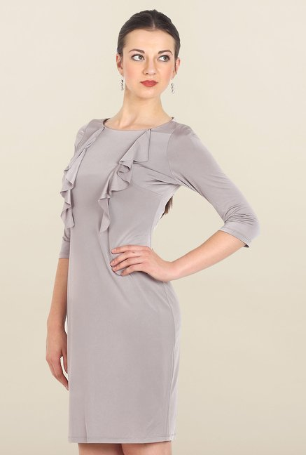 Avirate Grey Solid Shift Dress