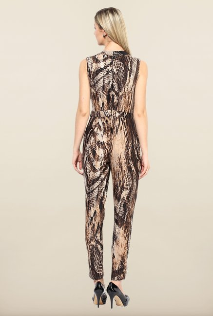 Avirate Brown Animal Printed Jumpsuit