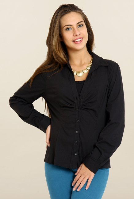 Avirate Black Solid Full Sleeves Casual Shirt