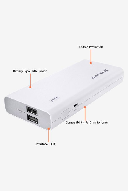 Lenovo PA10400 10400 mAh Power Bank (White)