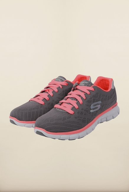 Skechers Synergy Grey & Pink Running Shoes