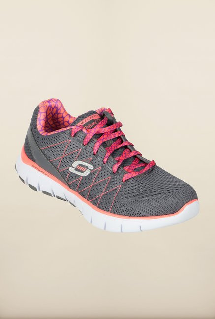 Skechers Skech Flex Grey & Pink Running Shoes