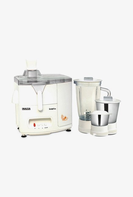 Inalsa Ikon Dx 500W Juicer Mixer Grinder White & Grey