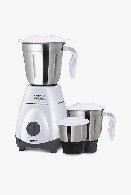 Inalsa Compact LX 550W Mixer Grinder White & Grey