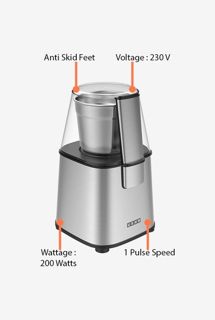Usha 200 Watt Dry Spice Masala and Coffee Grinder Silver