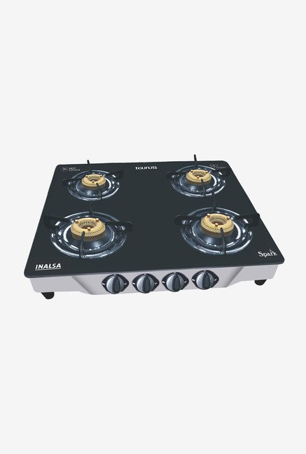 Inalsa Spark SS 4 Burner Gas Cooktop Black