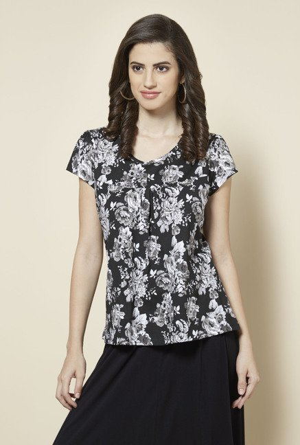 Zudio Black Floral Printed Top
