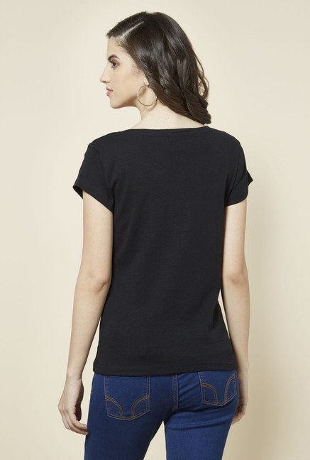 Zudio Black Solid T Shirt