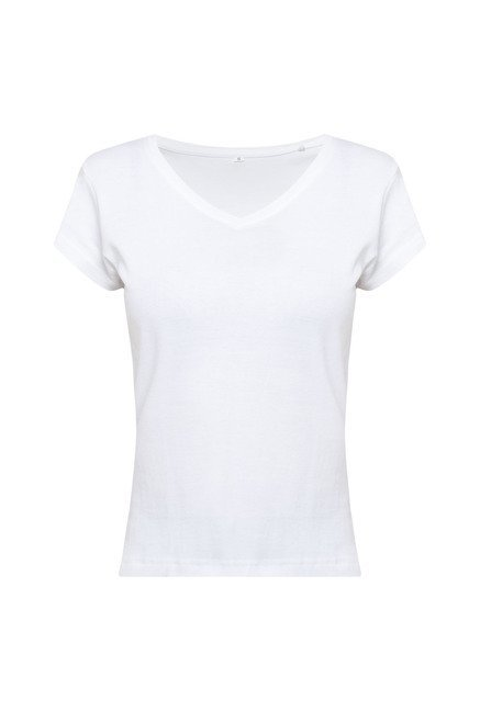 Zudio White Solid V Neck T Shirt