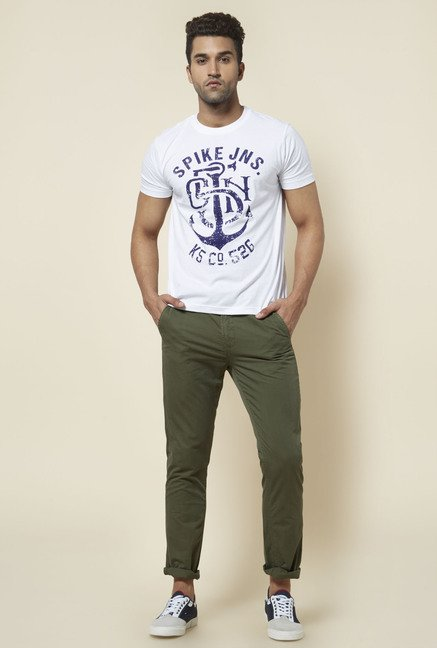 Zudio White Anchor Print T Shirt