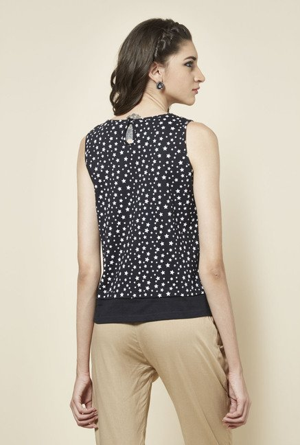 Zudio Black Leah Printed Top