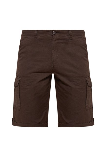 Zudio Brown Solid Cargo Shorts