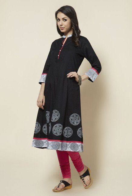 Zudio Black Solid Anarkali Kurta