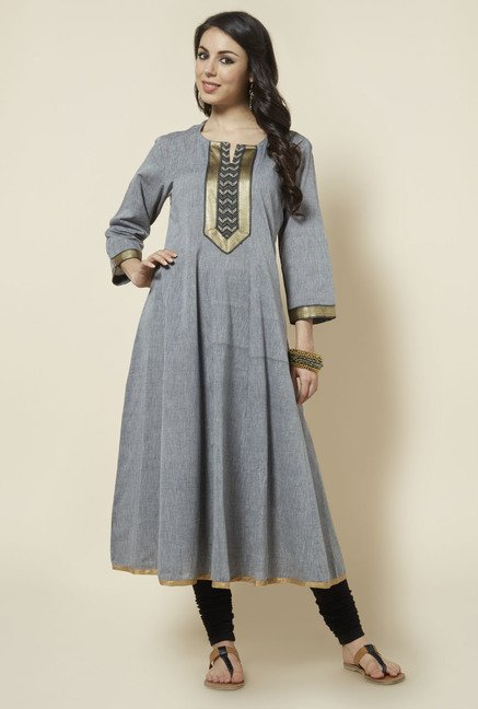 Zudio Grey Solid Anarkali Kurta