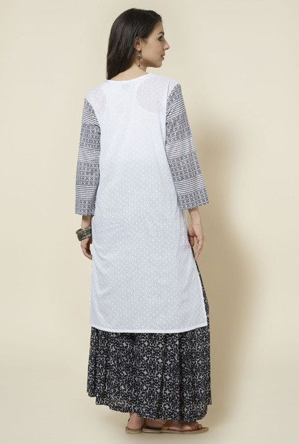 Zudio White Printed Kurta